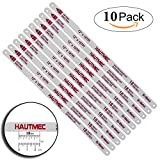 HAUTMEC Hacksaw Replacement Blades BI-METAL (10 Pack) High Speed Steel Grounded Teeth 18 TPI x 12'' Length 0.025'' Thick x 1/2'' Width HT0016-CT