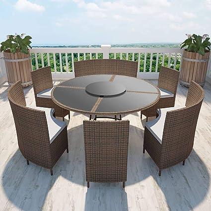 Festnight- Conjunto de Muebles de Jardín de Ratán Mesa y ...