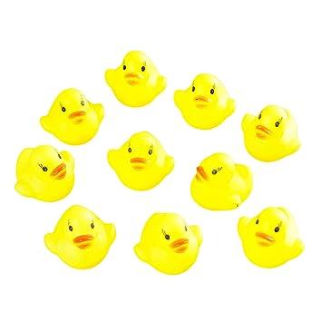 guoxuEE 10pcs bebé baño bañera Juguetes Mini Goma chirrido Flotador Pato Amarillo
