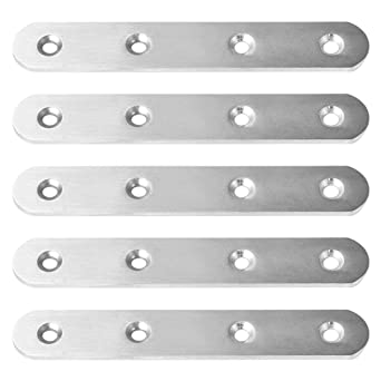 ZCHXD 5pcs Straight Bracket Stainless Steel 100mm Flat Brace ...