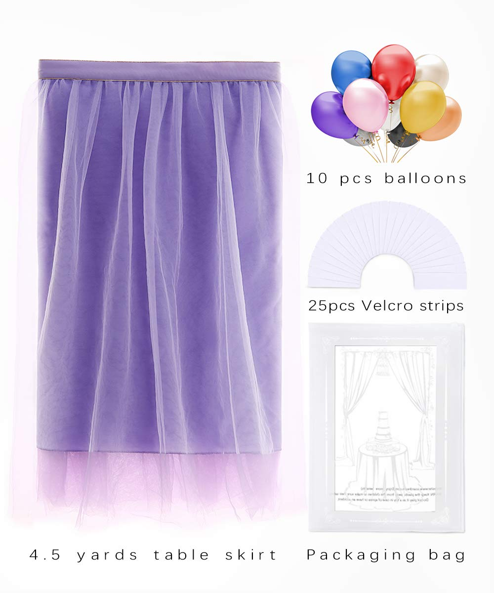 B-COOL Lovely Light purple Tulle Tutu Table Skirt 4.5 yards Tulle Table Cloth Skirt Customized Romantic Girl Princess Birthday Party Table Skirts Banquet Table Decorations(L14(ft) H 30in) by B-COOL (Image #8)