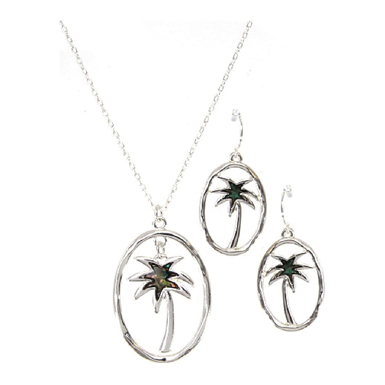 Paua Abalone Shell Beach Oval Palm Tree Chain Necklace Earrings Set 'Enchanted Palms'