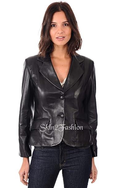 Amazon.com: Chaqueta de piel para mujer Blazer Classic Real ...