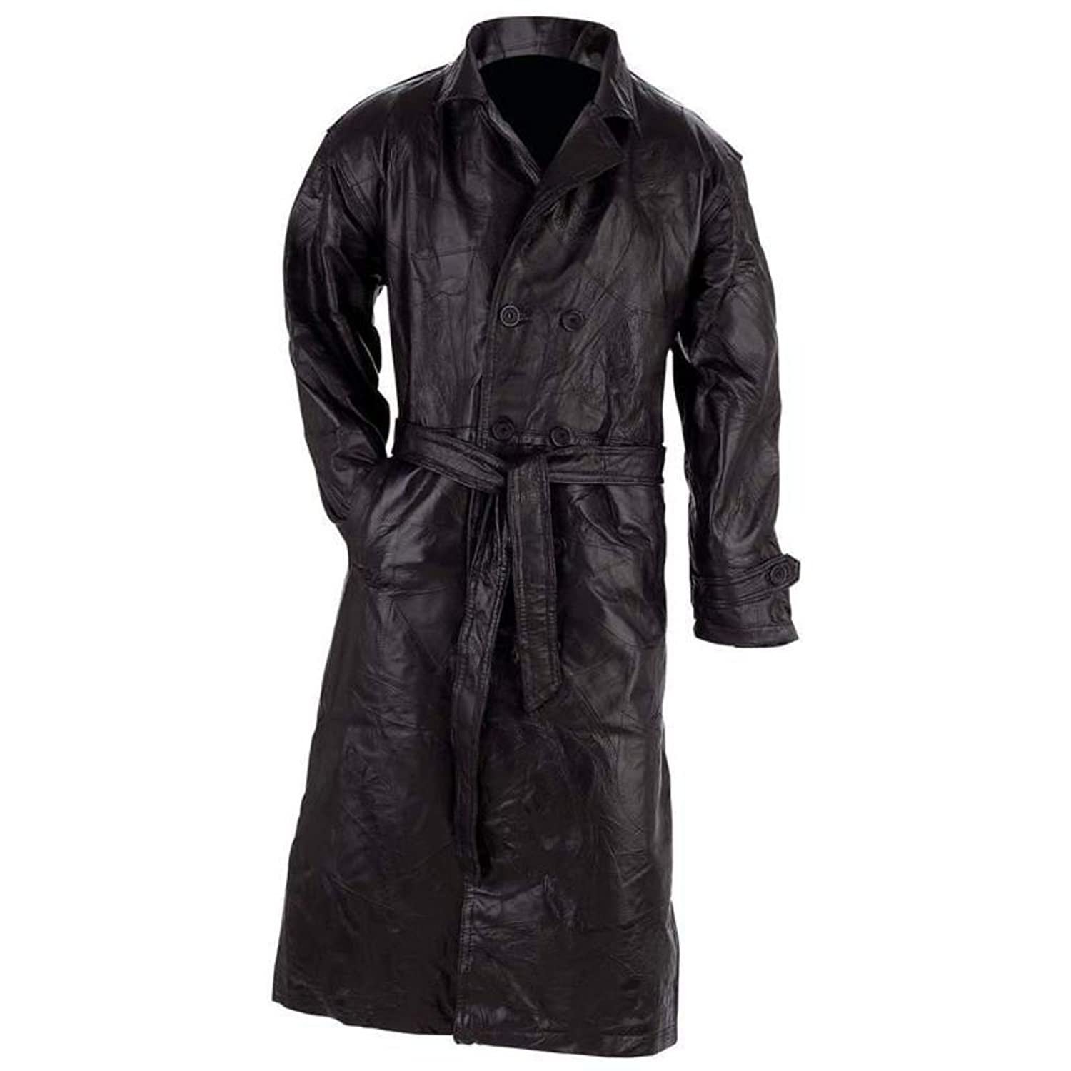 Genuine Leather Trench Coat Style Black Large At Amazon Mens Clothing Store Leather Outerwear Jackets