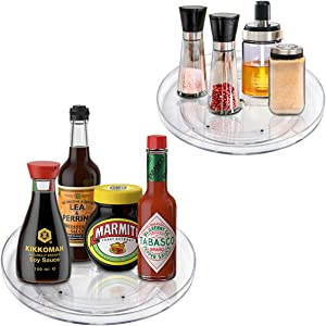 """Lazy Susan Rotating Turntable Food Storage Container for Cabinets, Pantry, Fridge, Countertops,Vanity,BPA Free - Spinning Organizer for Spices, Condiments - 9"""" Round, Clear-2 Pack"""