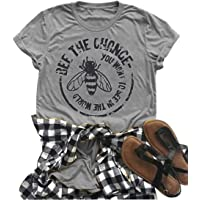 JEYMMI Womens Graphic Tees Bee The Change Shirts Casual Summer Vacation Shirt Tops Short Sleeve Graphic Shirt