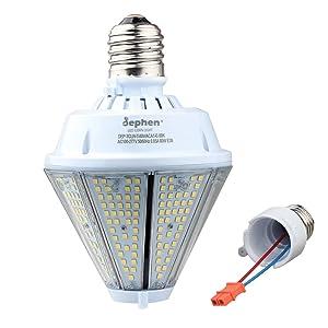 80W LED Corn Light Bulb, 10400lm High Lumen Led Flood Light Bulbs, 5000K Cone Led Bulbs with Mogul E39 & Medium E26 Base (Interchangeable) for Post Top Wall Lantern High Bay Warehouse Garage Canopy