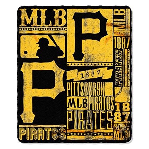 Pirates Fleece Throw - The Northwest Company MLB Pittsburgh Pirates Strength Fleece Throw Blanket, Yellow/Black, 50