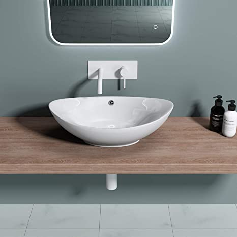 Durovin Bathrooms Ceramic Wash Basin Counter Top Mounted Oval Vessel Sink Deep Fill With Overflow Slot Amazon Co Uk Diy Tools