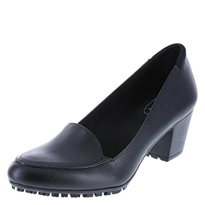 safeTstep Black Women's Slip-Resistant Brittany Block Heel 5 Wide | Shoes