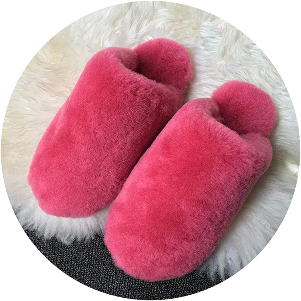 COOCOl Natural Fur Slippers Shoes Women Indoor Floor Slippers Home Shoes Warm Thick Wool Slippers,Peach Pink,4