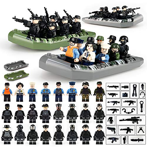 Toy Soldiers (Building Set Military Weapons and Army Building Blocks Toy And City Police Military Canoeing SWAT Team Army Soldiers figures with Weapons Building Blocks Assembling with SWAT Accessories for Children)