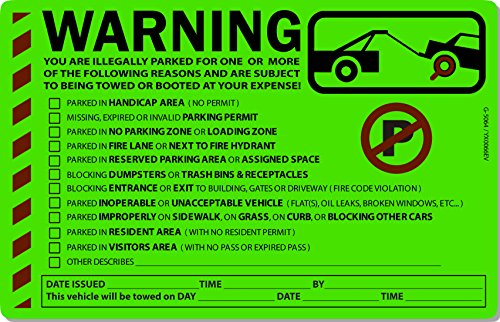 50 Green Fluorescent MULTI-REASON Warning Violation No Parking Towing Car Window Sign Stickers 8X5 - Peel 50 Car