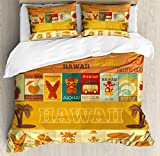 Tiki Bar Decor Duvet Cover Set King Size by Ambesonne, Retro Travel Cards Collection Holiday in Hawaii Icons Summer Vintage Print, Decorative 3 Piece Bedding Set with 2 Pillow Shams, Multicolor