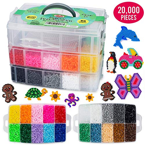 20,000 Deluxe Fuse Bead Kit Including 6 Peg Boards, Transparent Ironing Sheets, Tweezers and Case - Fuse Beads Compatible with Perler Beads ()