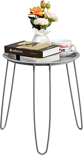 HollyHOME Small Round Metal Tray End Table