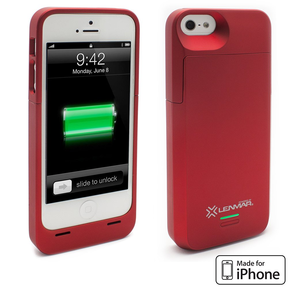 iPhone 5S Battery Case, Lenmar Meridian 2300 mAh MFI Approved [Slim] [Extended Battery Charger] [100% Additional Battery Life], Red by Lenmar (Image #2)