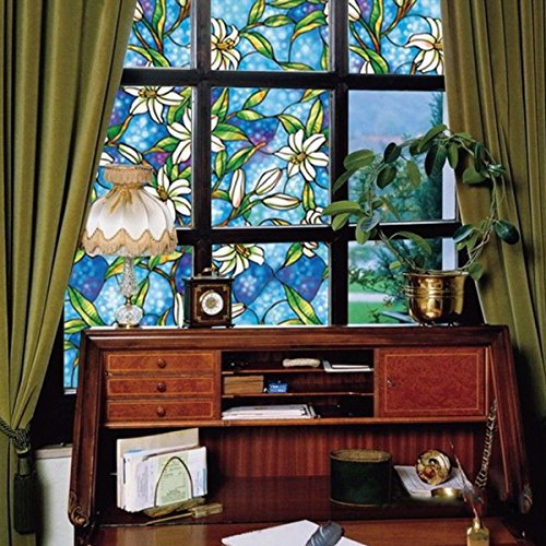 Lifetree Privacy Window Film Frosted Glass Film Stained Glass Film Static Cling Film Non-Adhesive Film Bird Window Stickers for Home Bathroom Office 45 200cm