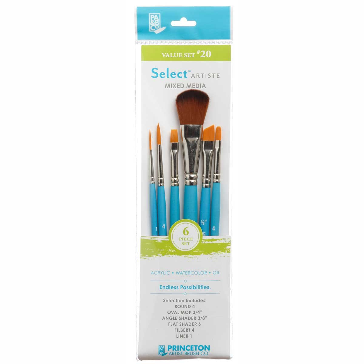 Princeton Select Artiste, Mixed-Media Brushes for Acrylic, Oil, Watercolor Series 3750, 6 Piece Value Set 120