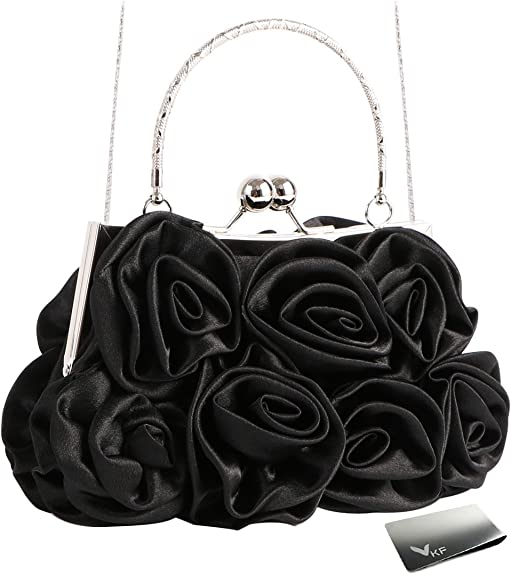Missy K 7 Roses Clutch Purse, Satin, with Detachable Strap + kilofly Money Clip