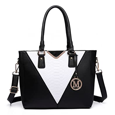 Miss Lulu Leather Look V Shape Multicolour Tote Handbag (Black White Black) 2f003199c6762