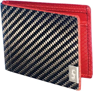product image for Common Fibers - The MAX 3.0 - Real Carbon Fiber RFID Blocking Bifold Mens Wallet With ID (Twill, Red)