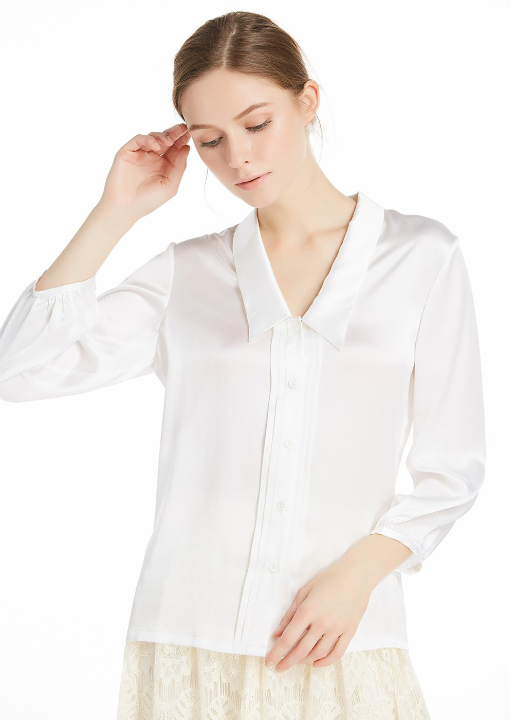 LilySilk Women's Charmeuse Silk Blouse Deep V Neck Top 22 Momme Soft Work Ladies Shirt White 14-16/XL
