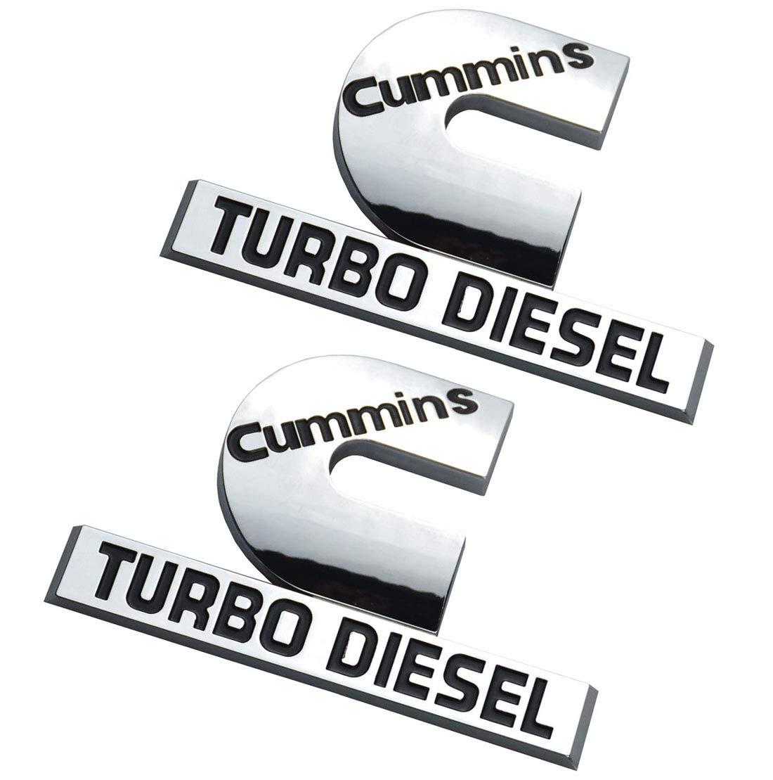 2PCS 4.4Inch Cummins Turbo Diesel Emblem Badge Compatible for Dodge RAM 1500 2500 3500 Chrome