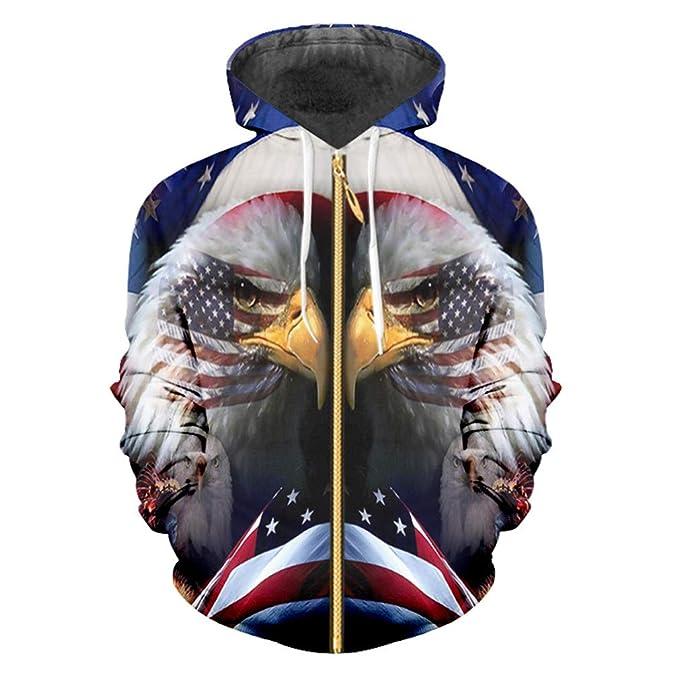 Bridfa Cool Hoodie Ropa Mujer para Hombres Impresión 3D American Flag Eagle Hoodie Streetwear Hip Hop Sudadera Capucha: Amazon.es: Ropa y accesorios
