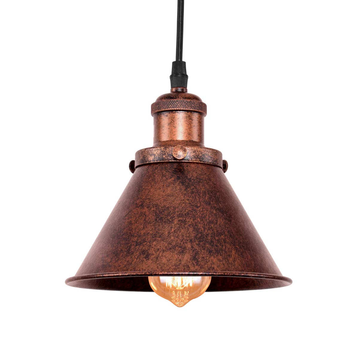 Lingkai Industial Pendant Lighting Single Light Hanging Light Fixture Antique Copper Finished Ceiling Light with Cone Shade