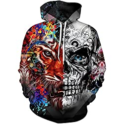Pandolah Men's Colorful Patterns Print Athletic Hoodies Fashion Sweatshirts Sweaters (2XL/3XL, Tiger Skull)
