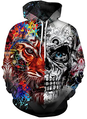 Pandolah Men's Colorful Patterns Print Athletic Hoodies Fashion Sweatshirts Sweaters (2XL/3XL, Tiger Skull)