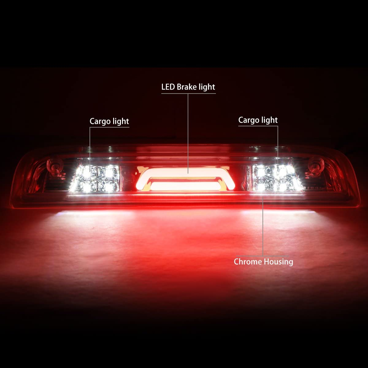 DNA Motoring 3BL-GMCD15-LED-CH Full LED 3rd Third Tail Brake Lamp//Light