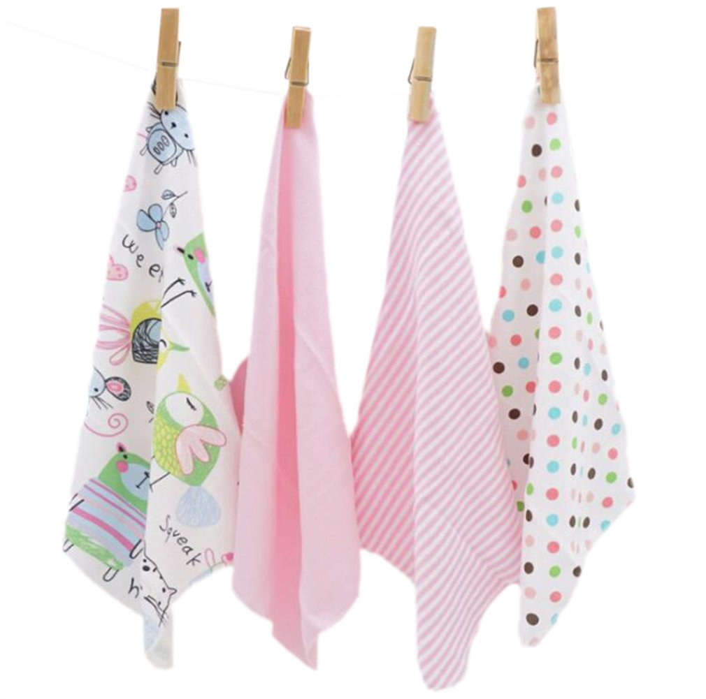 CuteOn 4 PCS Reusable Newborn Baby Washcloth Feeding Wipe Cloth Mini Baby Towels for Sensitive Skin Blue 11.02' x 11.02'