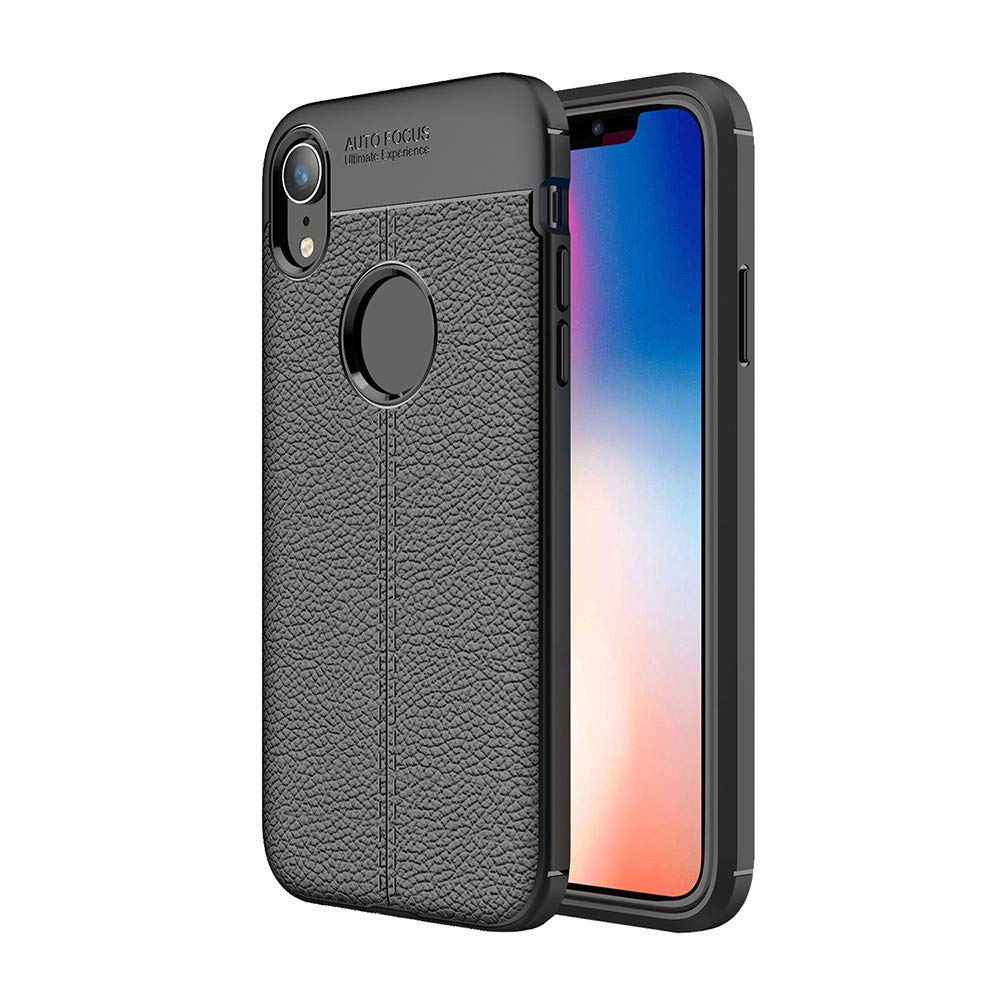 Kasien iPhone XS/iPhone XR/iPhone XS Max Case, Luxury Lychee Texture Shell Flexible TPU Protective Case Cover (Black, For iPhone XR)