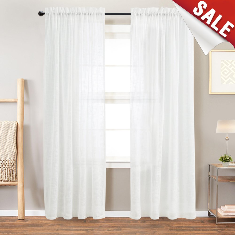 Linen Textured Sheer Window Curtains for Bedroom Off White Curtain for Living Room 84 inch Length Rod Pocket Curtain Panels 1 Pair by jinchan