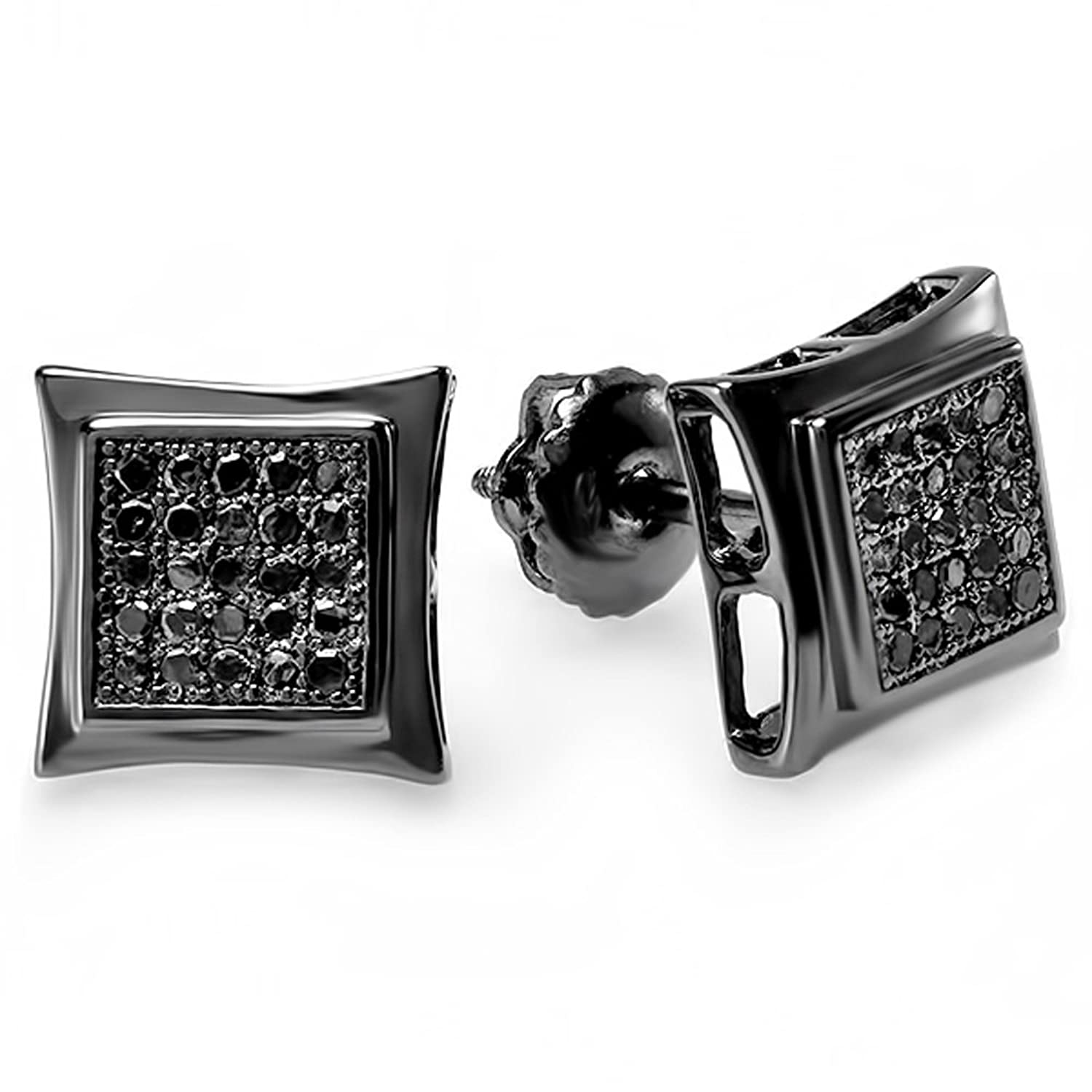 screwback black bhp mm men earrings ebay carat unisex diamond gunmetal