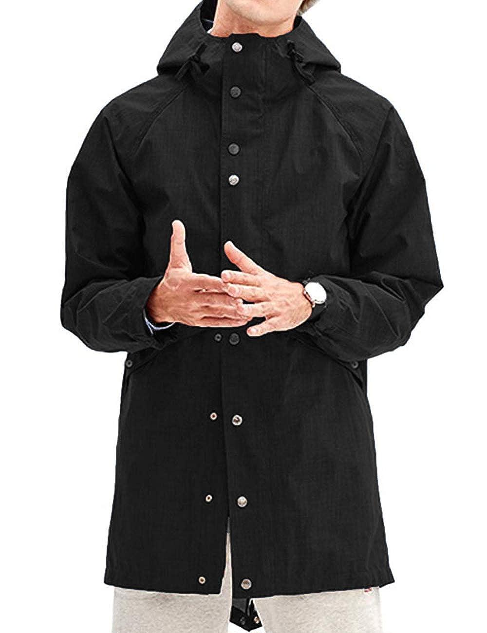poriff Herren Regenjacke wasserdicht mit Kapuze Lange Multi Jacke Urban Outdoor
