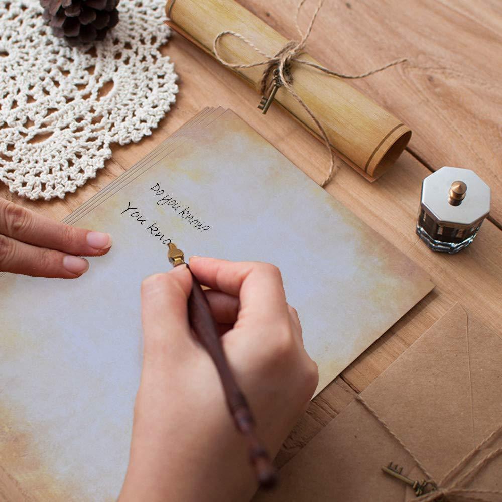 A 21,0 x 29,7 cm 100 Fogli Carta Vintage Marrone Formato DIN A4 Fronte-Retro Stampato Adatto a Tutte Le Stampanti