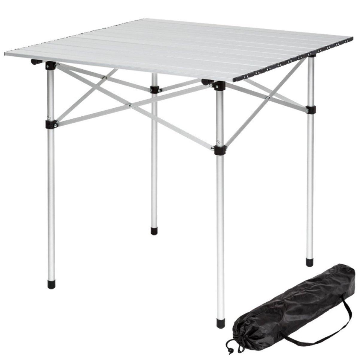 70/x 70/x 70/cm Table de camping portable en aluminium l/éger Roll Up Table pliante avec un sac pour Outdoor pique-nique Cuisine