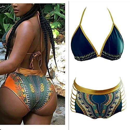 Eleoption 2 Pcs Sexy Women Bandage Push up Halter Bra Gold Sequin Bikini Swimsuit with High Waist African Tribal Metallic Cutout Print Swimwear (XL, Dark Green) ()