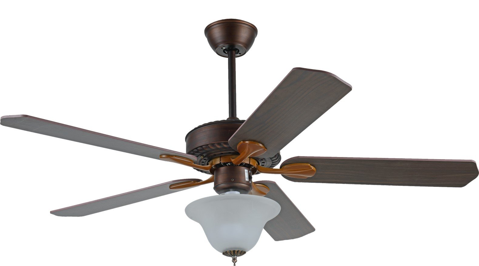 Induxpert Ceiling Fan with Lights | 3 Speed Remote Controlled 52 Inch Reversible Mounted Fan | Frost Glass Light Fixtures