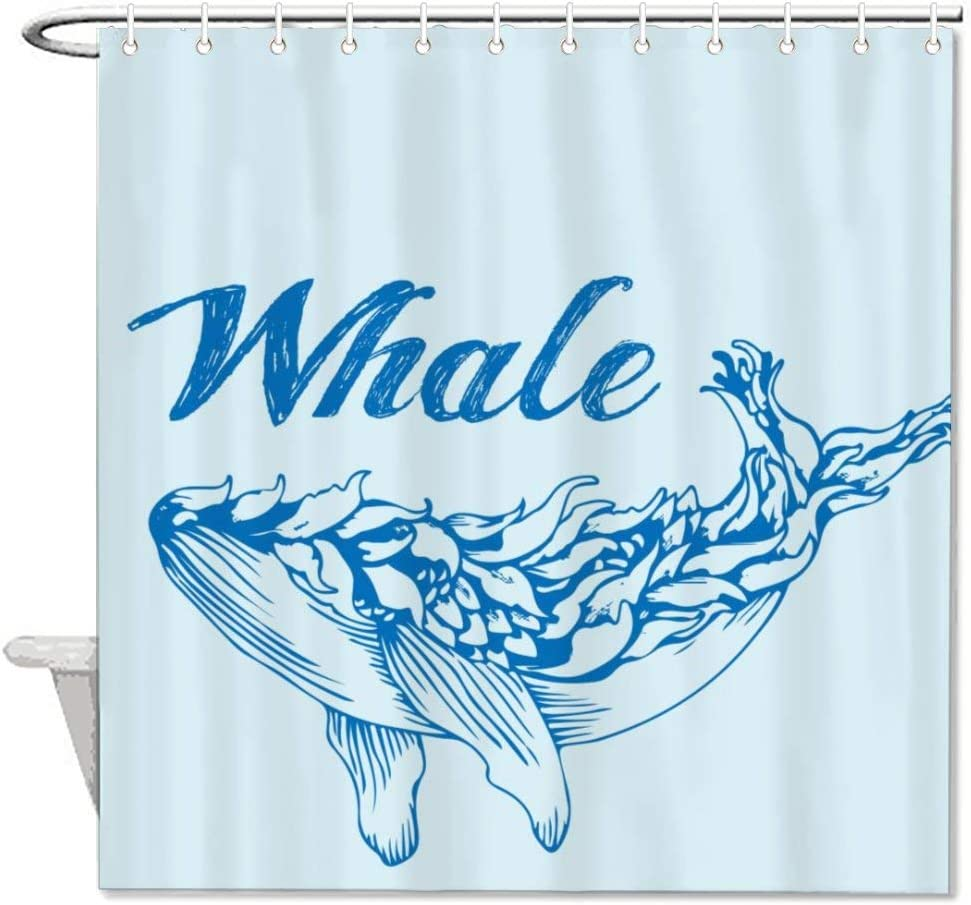 Watercolor Whale and Fish Pattern Shower Curtain Set Waterproof Fabric Hooks 72/""