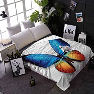 carmaxs Travel Blanket Butterfly Custom Blanket for Couch Bed Sofa Big Butterfly Manifests Never Ending Cycle of Life Self Transformation 50 x 70 Inches Orange Blue Black