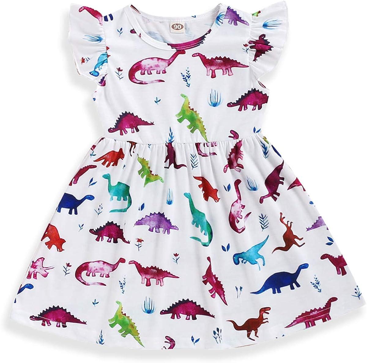 Happy Town Kids Baby Girls Dinosaur Dress Clothes Fly Ruffle Sleeve Dinosaur Tutu Skirt Sundress Summer Casual Dress