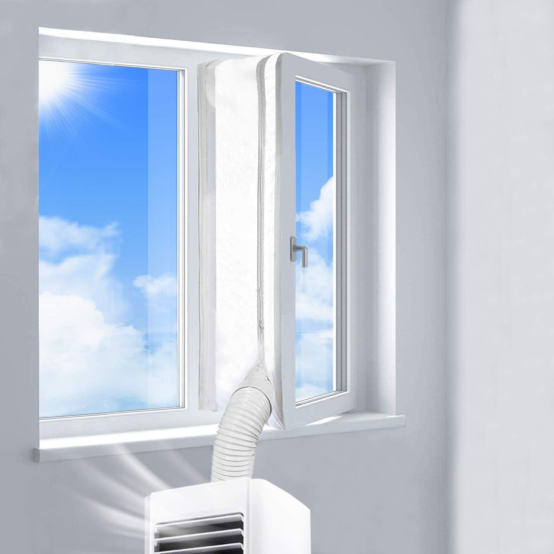 Cubierta Aislante de Tela para Ventanas Abatibles para Aparatos De Aire Acondicionado Portátiles y Secadoras. Fácil Instalación Evita La Entrada de Mosquitos. Perímetro Máximo de 300cm xiuyun: Amazon.es: Hogar