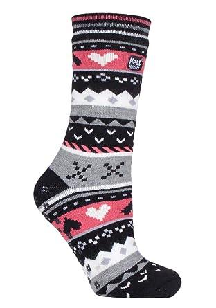 HEAT HOLDERS - Mujer invierno calientes termicos calcetines antideslizantes estar por casa (37/42, Black/Coral (Soul)): Amazon.es: Ropa y accesorios