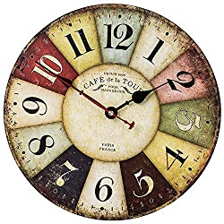 Home Decor Clock, Colorful Retro Roman Numerals Style,Silent Non -Ticking Quartz Wooden Wall Clock, Large Wall Art Decorative for Kitchen,Living Room,Kids Room and Coffee Decor (14 Inch, Paris)