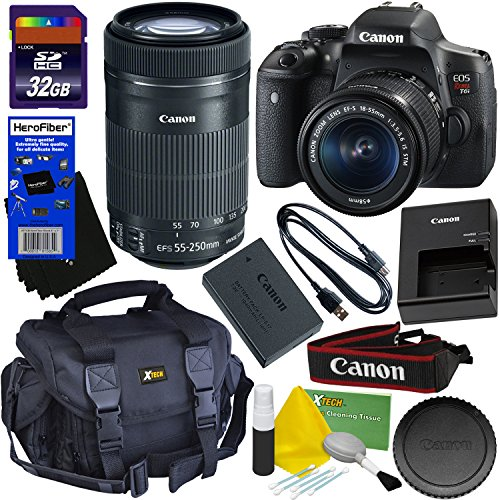 Canon EOS Rebel T6i Digital SLR Camera with EF-S 18-55 IS STM & EF-S 55-250mm IS STM Telephoto Zoom Lenses (International Version) + 32GB Accessory Kit w/ HeroFiber Ultra Gentle Cleaning Cloth