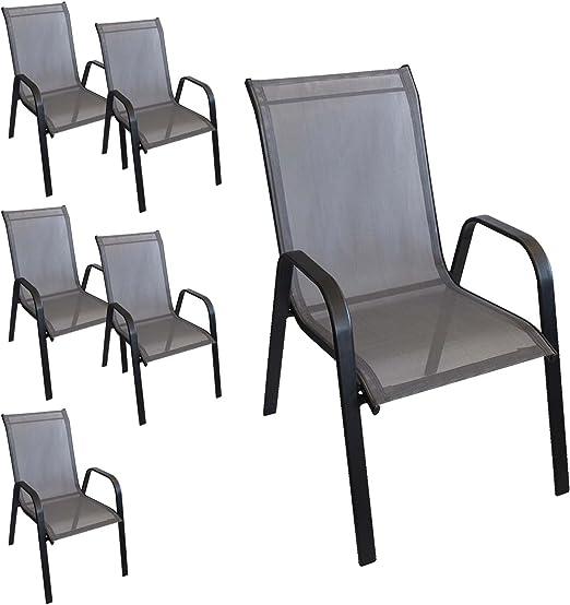 6 pieza apilable silla sillón Jardín Jardín Silla apilable con estructura de acero, recubrimiento Cordaje Balcón Muebles Muebles de Jardín Terraza Muebles negro/antracita: Amazon.es: Jardín
